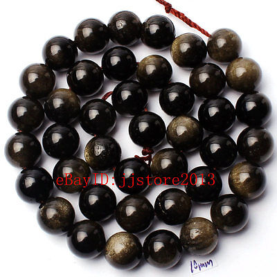 """10Mm Pretty Natural Gold Obsidian Round Shape Gemstone Loose Beads Strand 15"""""""