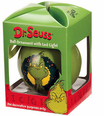 ** GRINCH HEART LIGHTS UP  ** With LED LIGHT Ornament Dr. Seuss New
