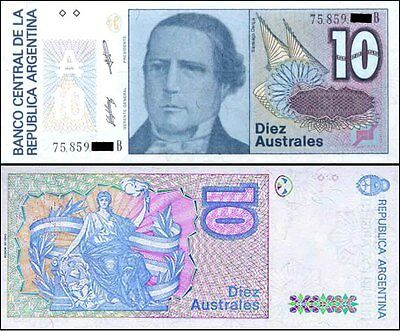 Argentina 1986 Last 10 AUSTRALES & National Flag Coloured Paper Banknote Issue