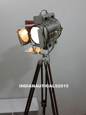 Vintage Hollywood Studio Marine Searchlight Floor Lamp With Chrome Tripod Stand