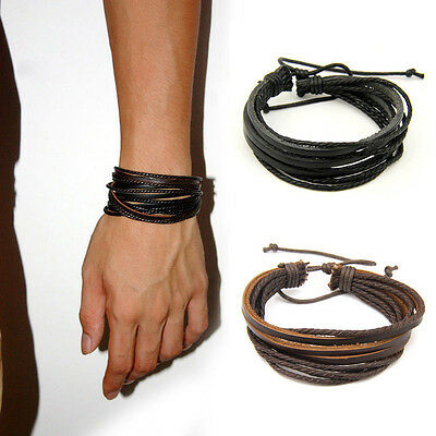 Herren Damen Leder Armband Handgemachte Surfer Tribal Wrap Multilayer-echtes