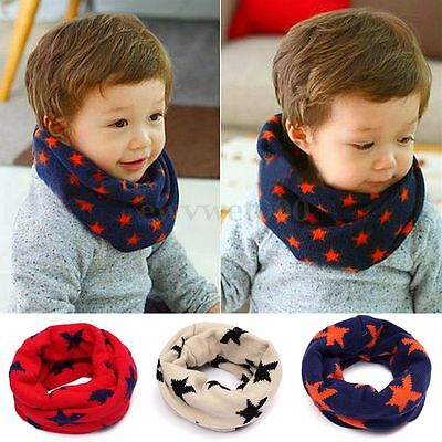 Boys Girls Neck Baby Kids Star Toddlers Winter Warmer Knitted Circle Scarf Shawl