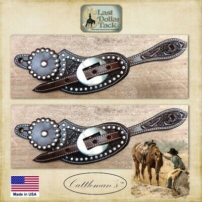 Ladies Western Spur Straps Floral Tooled Wicket & Craig Chocolate Leather & Dots