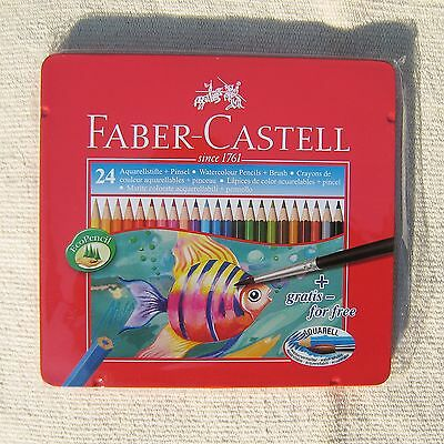 FABER-CASTELL Water Colour colored Pencils 24 Colors Set Aquarell Art Tin Case