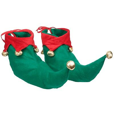 Deluxe Elf Shoes Boots Red And Green Xmas Fancy Dress Christmas Elf Pixie Santa