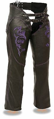 Women's Motorcycle Motorbike Leather Chap Purple Embroidery Reflective Black New