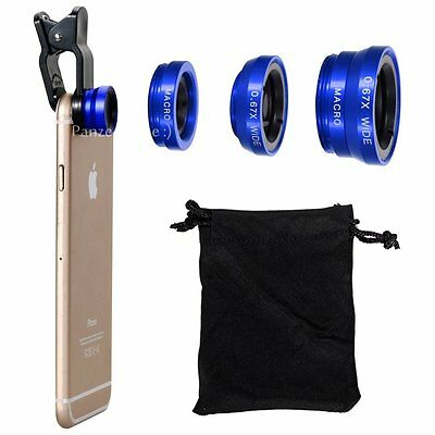 3 in 1 Camera Lens Wide Angle & Fish Eye & Macro Clip for iPhone 5S 6 6S Blue