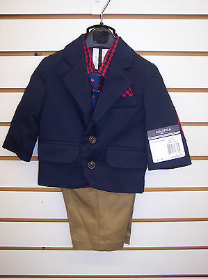 Infant Boys Nautica $84 Navy & Red 4pc Suit Size 0/3 Months - 18Months