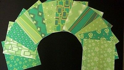 "BOLD GREEN & MINT Double-sided Scrapbooking/Cardmaking Papers-15cm x15cm(6""x 6"")"