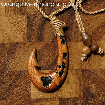 Hawaiian Fish Hook Koa Wood Necklace Island Maps Maori Hei Matau Pendant A14