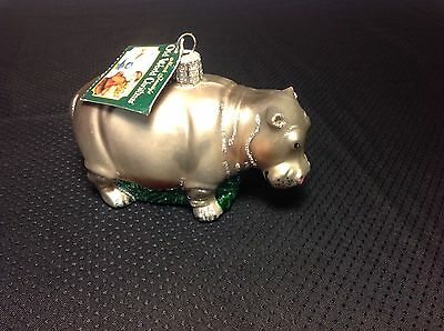 Rare Vintage Old World Christmas Blown Glass Ornament Hippopotamus Hippo  2004