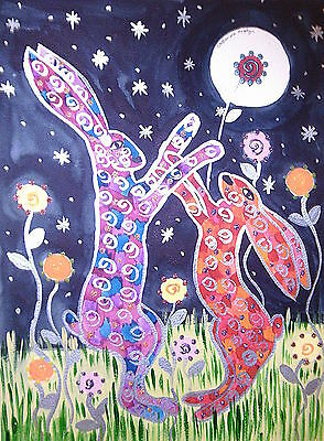 "Fridge Magnet  ,Quirky Hares boxing at Night 4.25"" by 5.5"" Large"