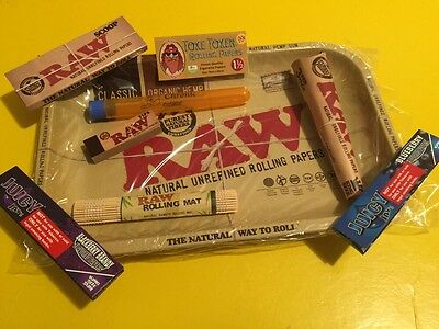 """NEWLY REVISED 420 STARTER KIT! RAW 7""""X11""""Rolling Tray/Tips/Cones/Juicy Jays ETC."""