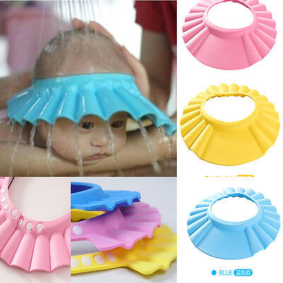 Baby Children Kids Safe Shampoo Bath Bathing Shower Cap Hat Wash Hair Shield UK