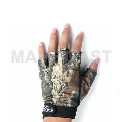 Green Camo Camoflage Fishing Angling Gloves Fingerless