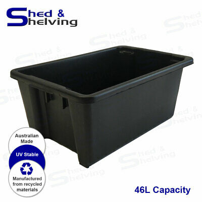 Heavy Duty 46L Black Plastic Tub Stack and Nest Storage Crate Box
