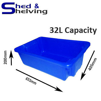 Heavy Duty 32L Blue FOOD SAFE Plastic Tub Stack and Nest Storage Crate Box