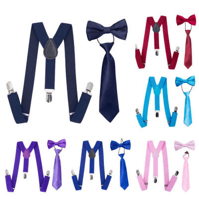 Matching Braces Suspenders and Bow Tie Kids Children Boys All Sizes 12 Colors
