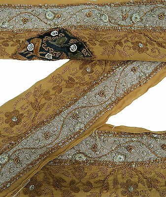 Vintage Sari Border Antique Embroidered Indian Trim Craft Ribbon Yellow Lace 1YD
