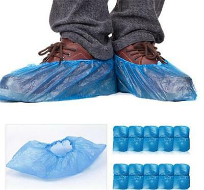 95x Disposable Plastic Blue Anti Slip Shoe Covers Cleaning Overshoes Protective