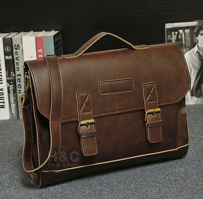 Men's Portfolio Business Case Briefcase PU Leather Shoulder Laptop Messenger Bag