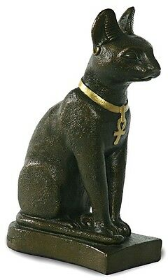 Bastet Egyptian Cat Statue Bronze Finish Kitty Goddess 7H E-098BP