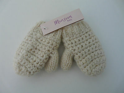 Bnwt Monsoon Baby Girl Beige Gold Wool Angora Knitted Mittens Size 1-3 Years