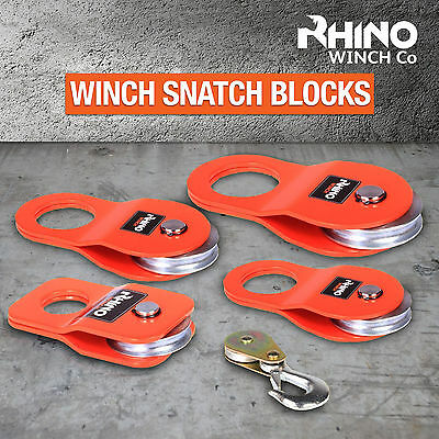 RHINO WINCH Snatch Block, Pulley, Off Road, Recovery ~ 2T 4T 8T 10T 12T Quality