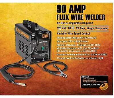 90 Amp-AC 120 Volt Flux Cored Arc Welder FCAW Gasless No Gas ACCESORIES INCLUDED