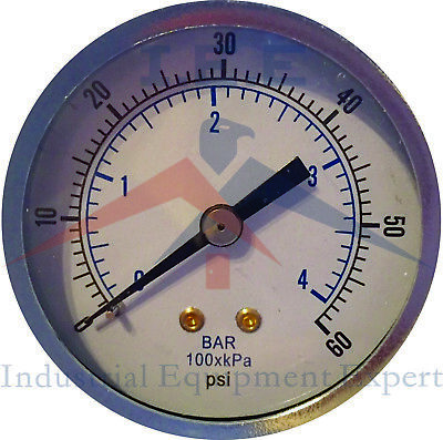 "Quality 1/8"" NPT Air Pressure Gauge 0-60 PSI Back Black Steel Mount 2"" Face"