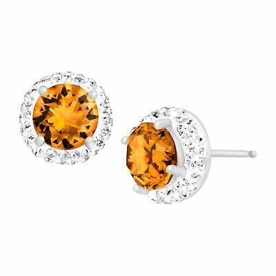 Crystaluxe November Earrings with Yellow Swarovski Crystals in Sterling Silver