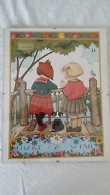 """Mary Engelbreit Framed Poster """"Make a Wish"""" 14"""" x 11"""" ME"""