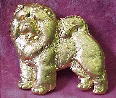 Chema Sotoca 24K Gold Plate Dog Brooch Pin Jewelry NEW Chow Chow
