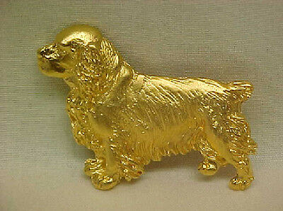 Chema Sotoca 24K Gold Plate Dog Brooch Pin Jewelry NEW Clumber Spaniel