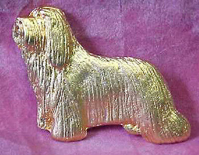 Chema Sotoca 24K Gold Plate Dog Brooch Pin Jewelry NEW Bearded Collie