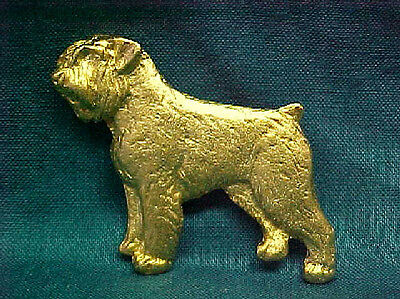 Chema Sotoca 24K Gold Plate Dog Brooch Pin NEW Bouvier des Flandres Uncropped
