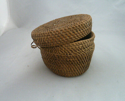 "Native American Weave Small Covered Bowl. Very Nice Design Approx 5"" W x 2.75"" T"
