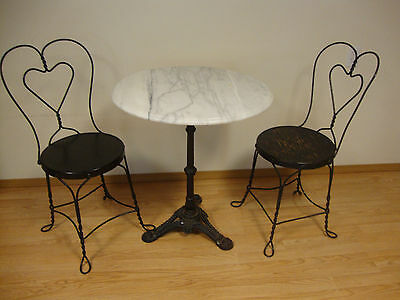 Vintage Marble Top Ice Cream Parlor Table & Chairs