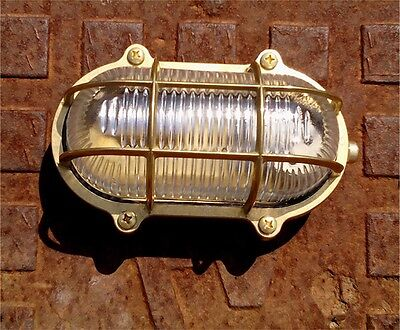 Outdoor Brass Wall Light. Patio / Garden lighting. Oval Brass Bulkhead Light