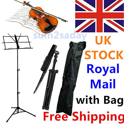 Metal Adjustable Sheet Music Stand Holder Folding Foldable with Carry Case BagSA
