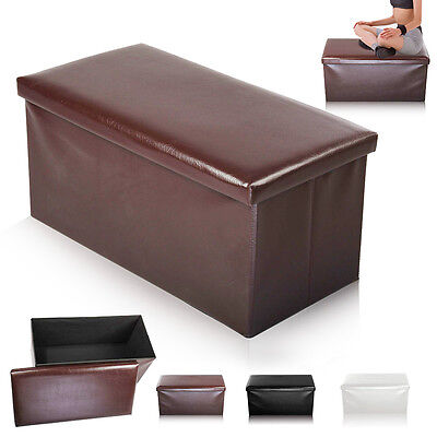 New Large Folding Storage Seat Stool Box Ottoman Faux Leather  Foot Stool