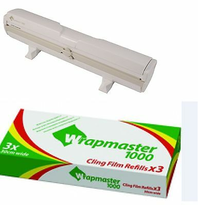 "Wrapmaster Dispenser 1000 12"" Plus x 3 Rolls of Clingfilm 30cm x 100m each roll"