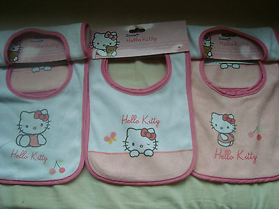 Lot De 3 Bavoirs 3 Bibs Set  Hello Kitty Neufs