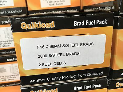 QUIKLOAD F16-38mm STAINLESS STEEL BRAD PACK FOR PASLODE STRAIGHT 2ND FIX TOOLS