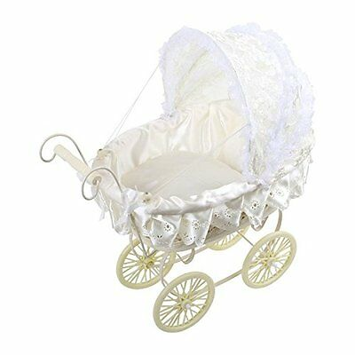 Ornamental Antique Victorian Style Doll's Pram White W/ Lace Hood New Gift UK S