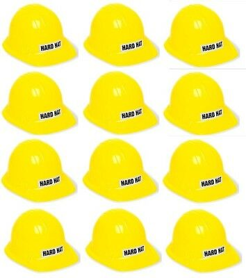 12 x Kids Size Unique Plastic Yellow Construction Hard Hat Costume Accessory