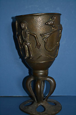 Rare Large Antique Early 20th Century African Benin Bronze Tribal Goblet, c1920