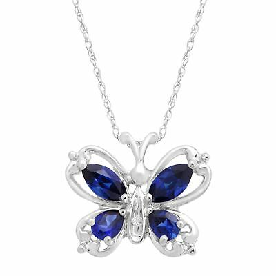 1 ct Created Sapphire Butterfly Pendant with Diamond in 10K White Gold