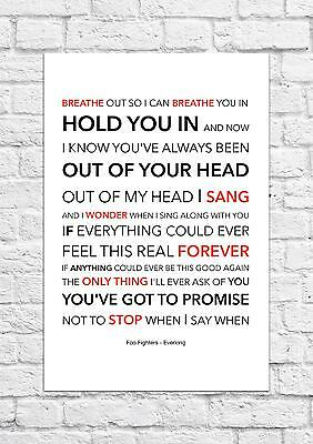 Foo Fighters - Everlong - Song Lyric Art Poster - A4 Size