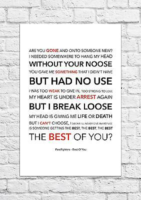Foo Fighters - Best Of You - Song Lyric Art Poster - A4 Size